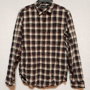 Brown J. Crew Mercantile Flannel W/Leather Elbows